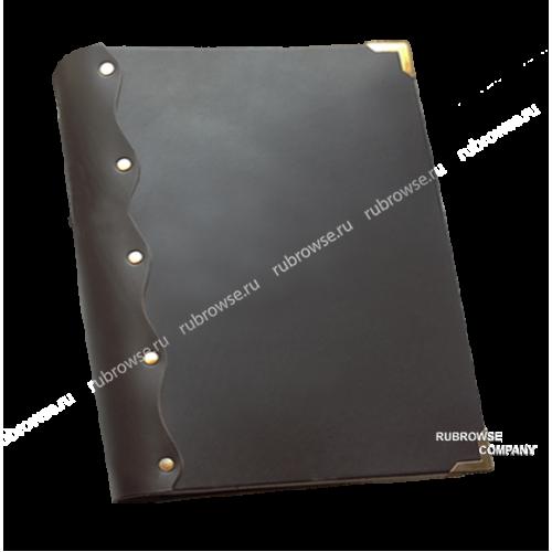 Папка из толстой кожи, с кольцевым механизмом крепления файлов. Металлические уголки (опция). Цвета на выбор.
