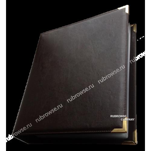 Папка с жестким корешком, кольцевым механизмом крепления файлов и металлическими уголками. Цвет на выбор.